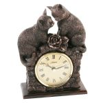 Bronze Effect Cat Figurine Mantel Table Clock Ornament